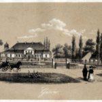 """Pałac w Guzowie w 1851 r. Rycina z """"Pamiętnika rodziny Łubieńskich""""."""