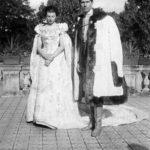 Feliks hr. Sobański z córką Gabrielą w dniu jej ślubu z Xawerym hr. Krasickim, Guzów 1938 r.