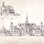 Projekt przebudowy pałacu w Guzowie opracowany przez M. Mayera, lata 1880.