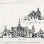 """Projekt przebudowy pałacu w Guzowie opracowany przez arch. M. Mayera. Widok pałacu od str. podjazdu. """"La construction moderne"""" 1886 r."""