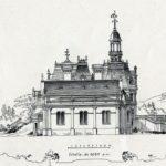 """Projekt przebudowy pałacu w Guzowie opracowany przez arch. M. Mayera. Elewacja boczna kaplicy św. Felixa de Valois. """"La construction moderne"""" 1886 r."""