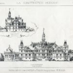 """Projekt przebudowy pałacu w Guzowie opracowany przez arch. M. Mayera. Widok pałacu od str. ogrodu. """"La construction moderne"""" 1886 r."""