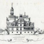 """Projekt przebudowy pałacu w Guzowie opracowany przez arch. M. Mayera. Elewacja boczna pałacu. """"La construction moderne"""" 1886 r."""