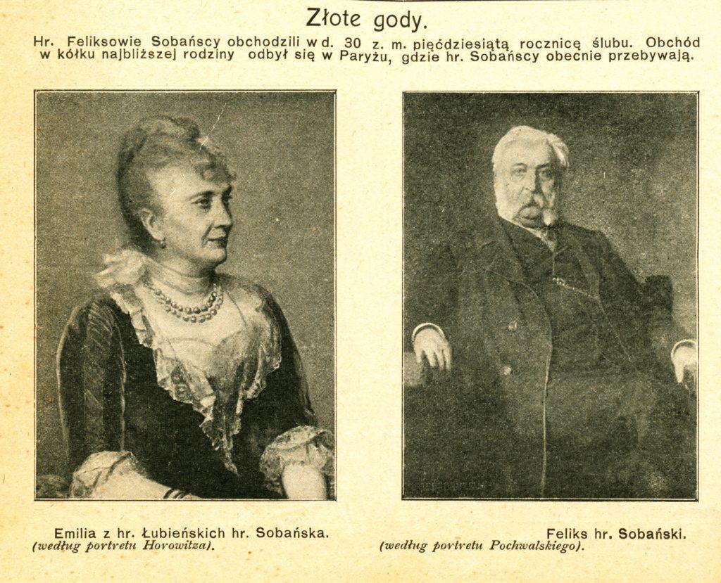 Zlote gody F.E.Sobanskich. Swiat nr 40.5.10.1907