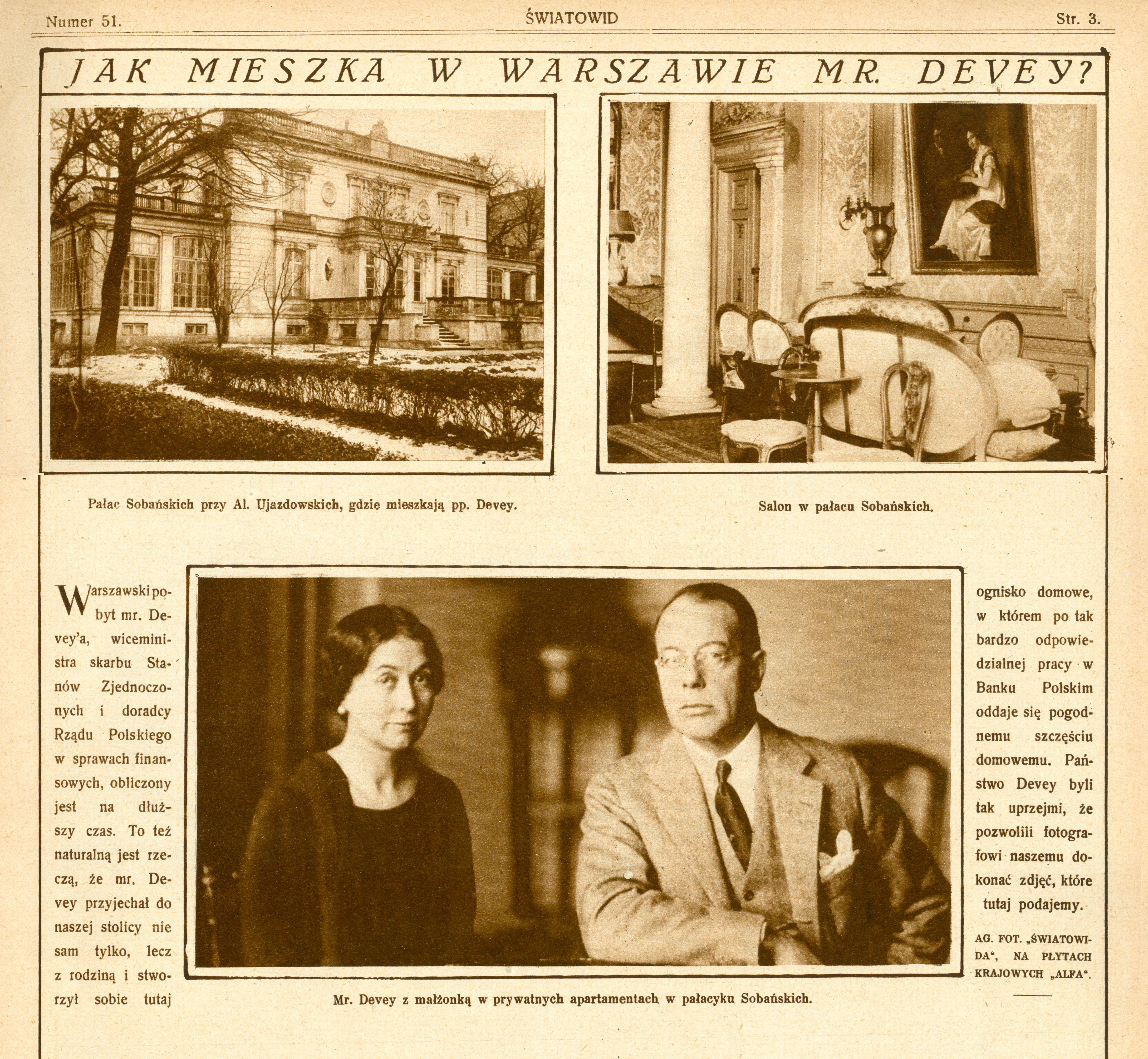 Charles S. Dewey_Swaitowid nr 51 17.12.1927 palac Sobanskich Warszawa 1